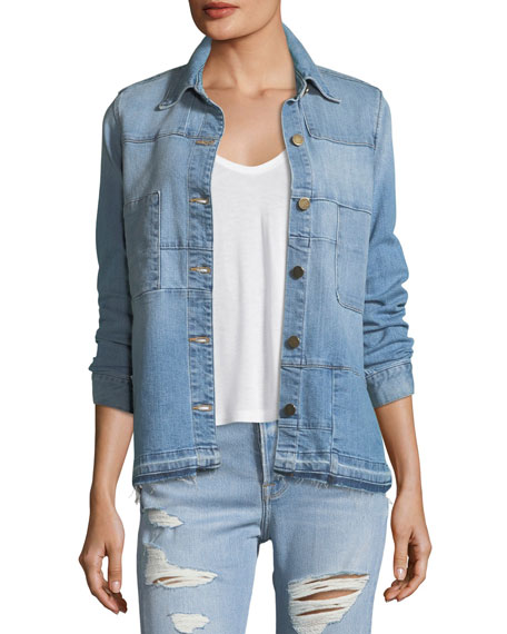 FRAME Le Patchwork Button-Front Denim Jacket