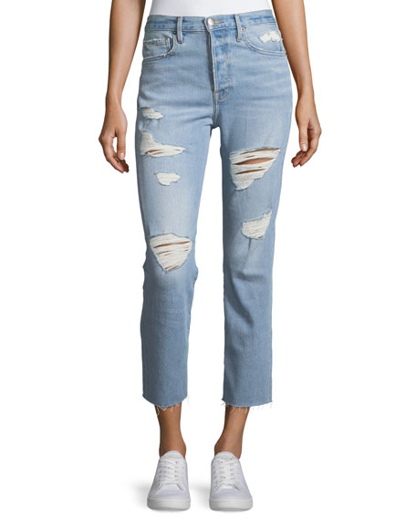 FRAME Le Original High-Rise Distressed Cropped Jeans