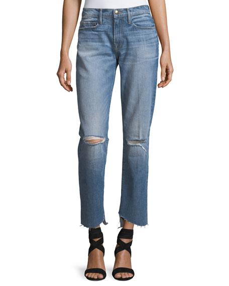 FRAME Le Nouveau Straight-Leg Cascade Hem Jeans