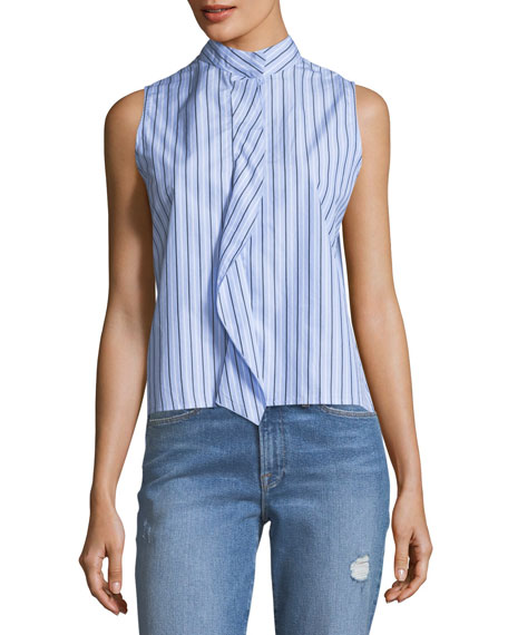 FRAME Sleeveless Stand-Collar Cravat Poplin Top