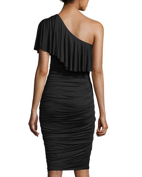 Barbados One-Shoulder Ruched Midi Dress