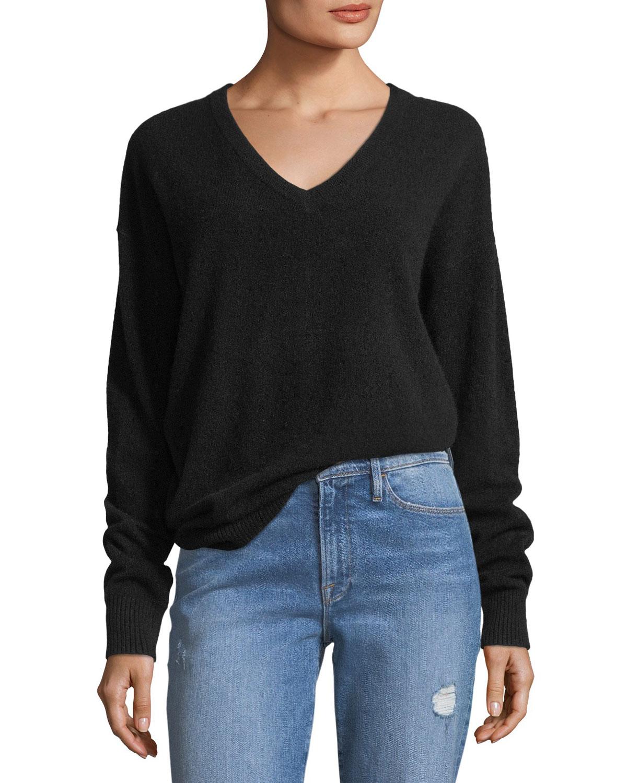 Oversized V Neck Long Sleeve Cashmere Sweater