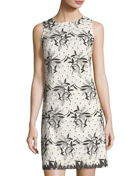 Sleeveless Embroidered Mesh Shift Dress