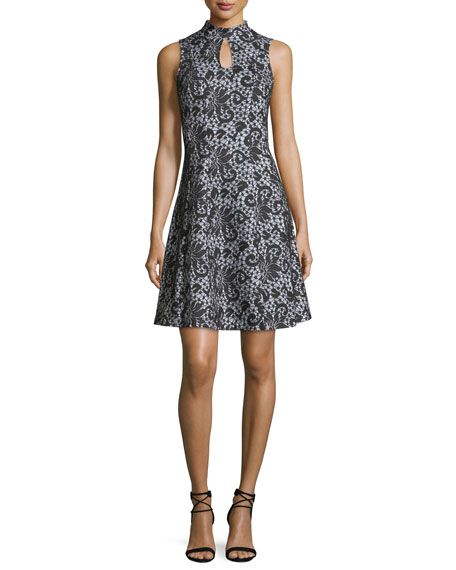 Sleeveless Keyhole Lace-Print Dress