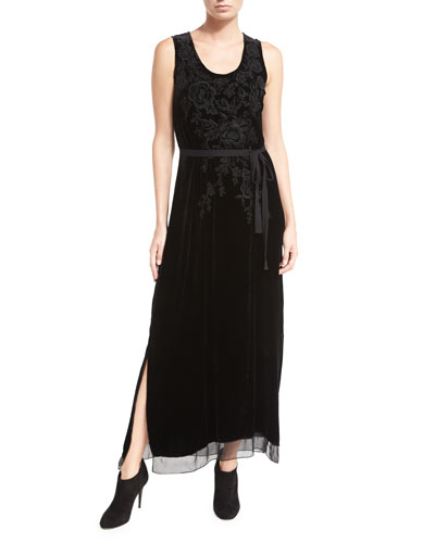 Talvia Sleeveless Floral-Embroidered Velvet Maxi Dress, Petite