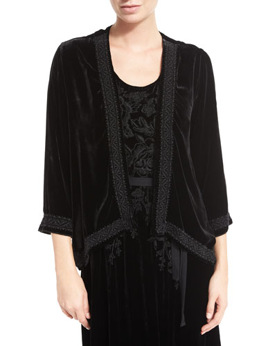 Talvia Embroidered Velvet Bolero Jacket, Petite