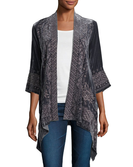 Johnny Was 3/4-Sleeve Velvet Draped Cardigan, Petite and