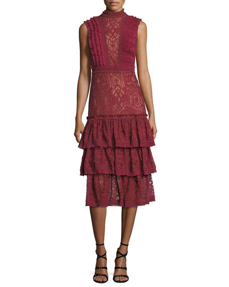 Jonathan Simkhai Mock-Neck Sleeveless Tower Mesh Lace Ruffled