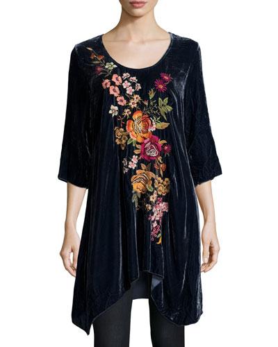 Michelle Embroidered Velvet Tunic, Petite