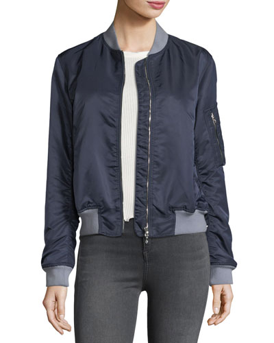 Manston Ruched Satin Bomber Jacket