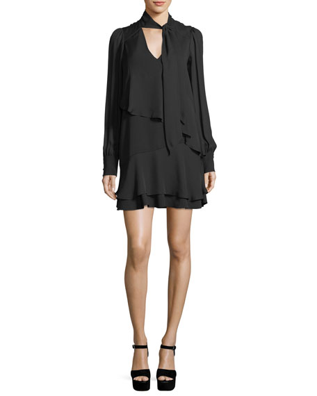 Parker Kenji Layered Tie-Neck Long-Sleeve Dress