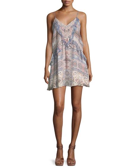 Parker Magda V-Neck Combo Silk Mini Dress