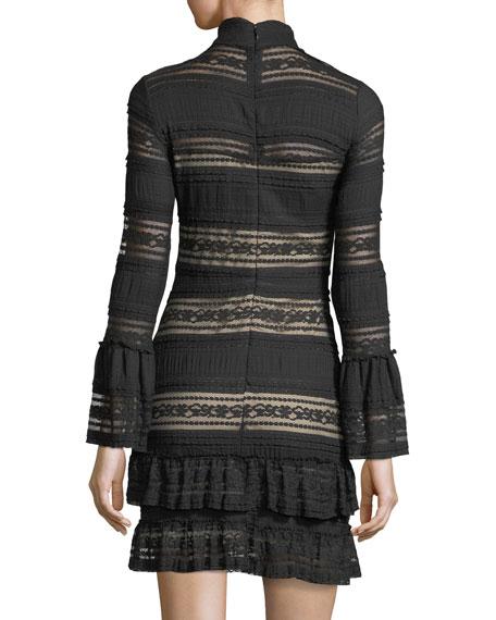 Topanga Mock-Neck Fitted Lace Dress