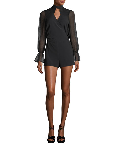 Quinto Long-Sleeve Surplice Combo Romper