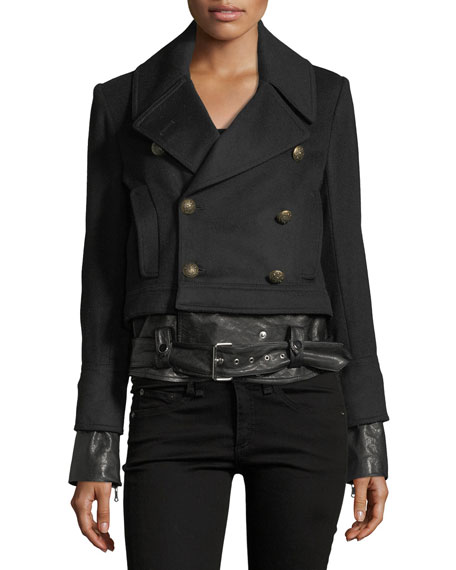 Yara Double-Breasted Pea-Coat Jacket w/ Leather Hem