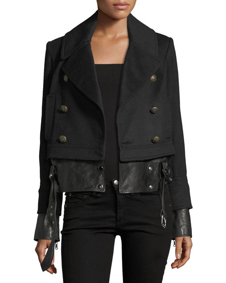 Veronica Beard Yara Double-Breasted Pea-Coat Jacket w/ Leather