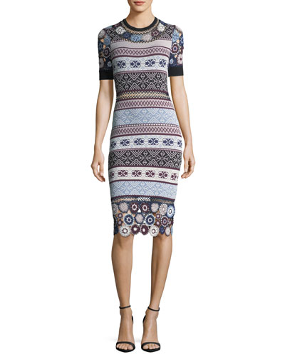 Carol Crochet Knit Fitted Dress w/ Rings