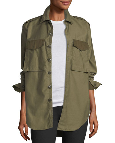 Button-Front Surplus Shirt Jacket