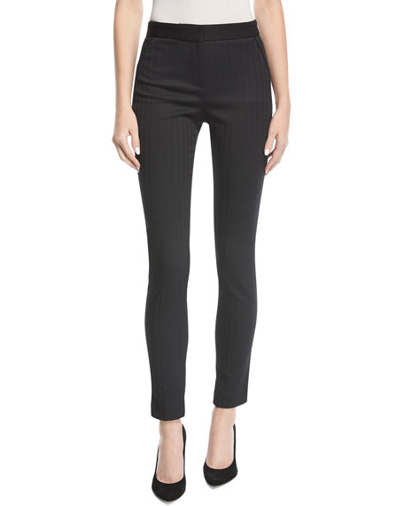 Terra High-Waist Herringbone Skinny Trousers