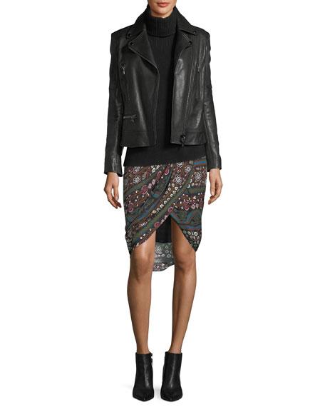 Nash Twist-Front Printed Pencil Skirt