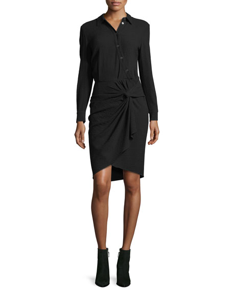 Wren Long-Sleeve Twist-Skirt Shirtdress
