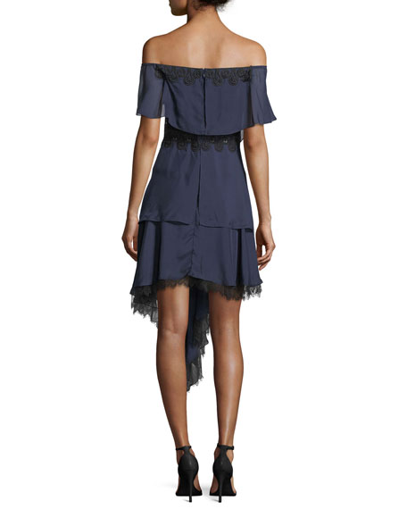 Off-the-Shoulder Tiered Silk Cocktail Dress w/ Mixed Trim