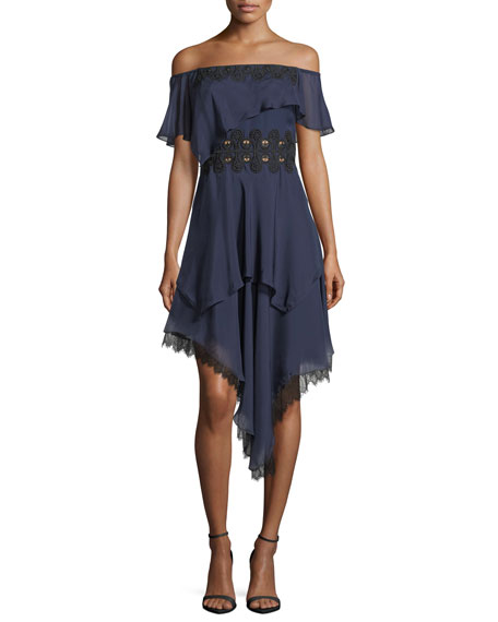 Jonathan Simkhai Off-the-Shoulder Tiered Silk Cocktail Dress w/