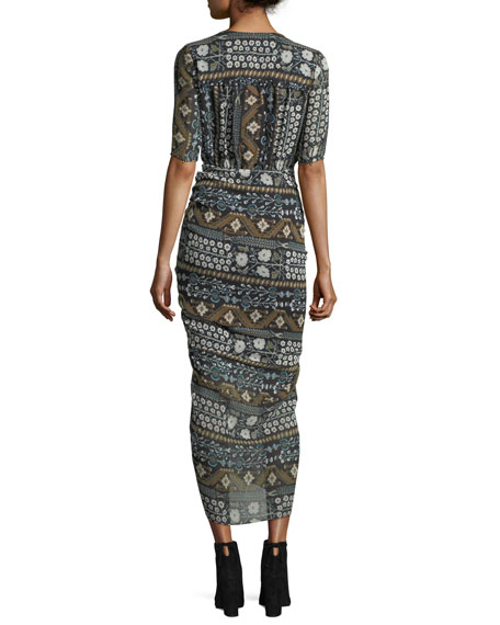 Perla Multi-Printed Faux-Wrap Fitted Midi Dress
