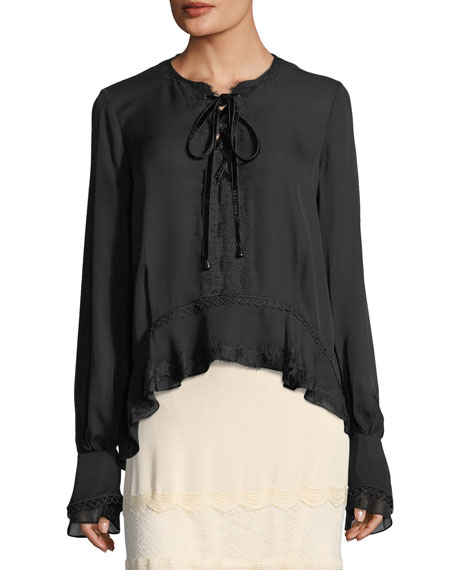 Mixed-Trim Silk Ruffle-Hem Silk Blouse
