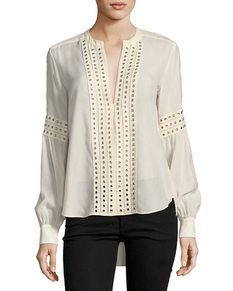 Willa Grommet-Trim Long-Sleeve Blouse