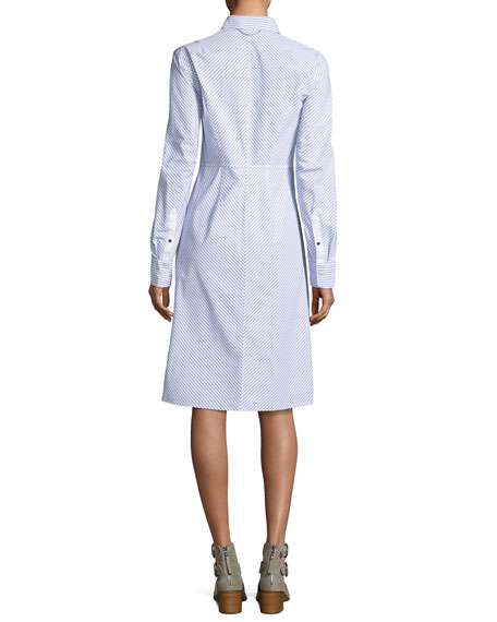 Albion Button-Front Long-Sleeve Striped Poplin Shirtdress