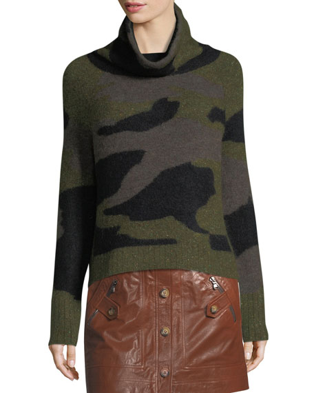 Davis Turtleneck Camo Silk-Alpaca Sweater