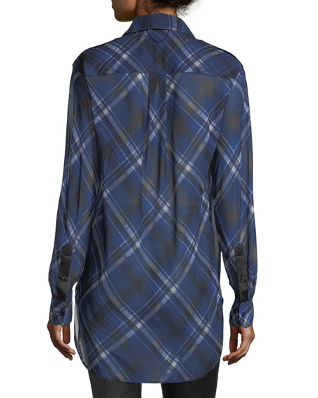 Mason Plaid Button-Front Tunic Shirt
