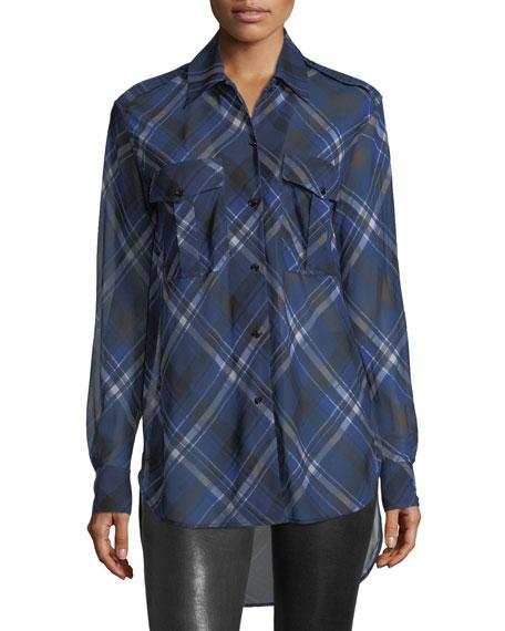 Rag & Bone Mason Plaid Button-Front Tunic Shirt