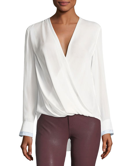 Victor Surplice Long-Sleeve Silk Blouse