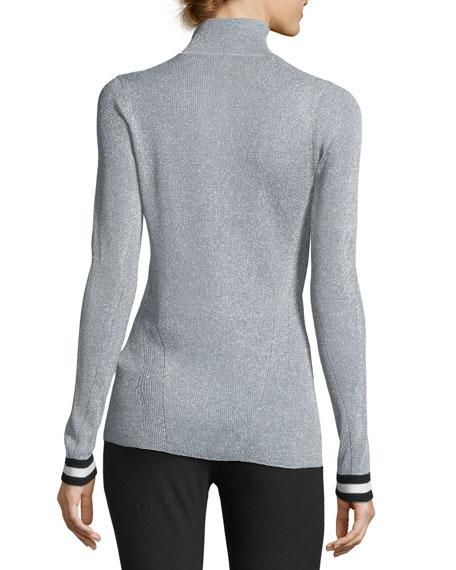 Priya Turtleneck Metallic Sweater w/ Striped Cuffs