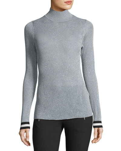 Priya Turtleneck Metallic Sweater w/ Striped Cuffs