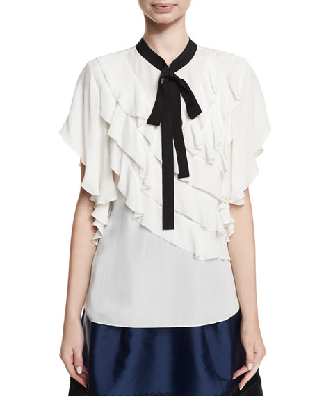 Ruth Ruffled Necktie Short-Sleeve Blouse