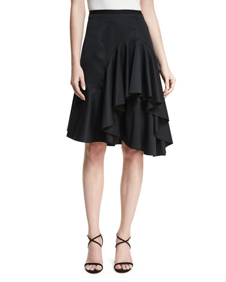 Sachin & Babi Simone High-Waist Ruffled Satin Skirt