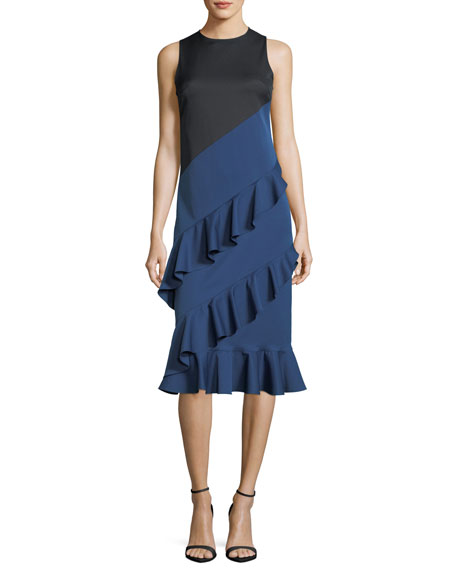 Eva Sleeveless Colorblocked Tiered Ruffled Cocktail Dress