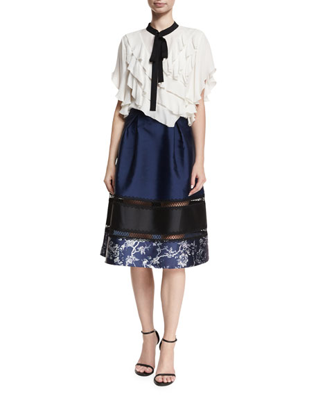 Ollie A-Line Sateen Skirt w/ Lace Trim