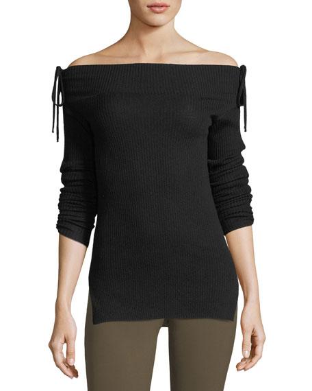 Veronica Beard Nolan Off-the-Shoulder Long-Sleeve Ballet Sweater