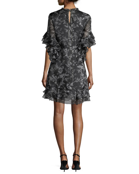 Maggie Floral-Print Chiffon Ruffled A-Line Dress