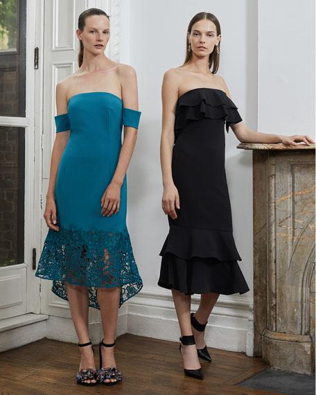 Indure Off-the-Shoulder Lace-Hem Sheath Cocktail Dress