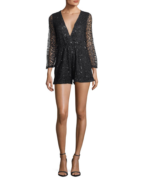 Sequined V-Neck Lace Romper, Black