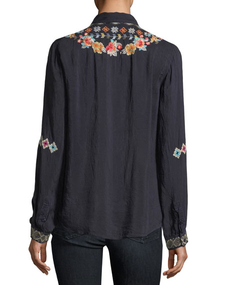 Clarissa Embroidered Button-Front Tunic