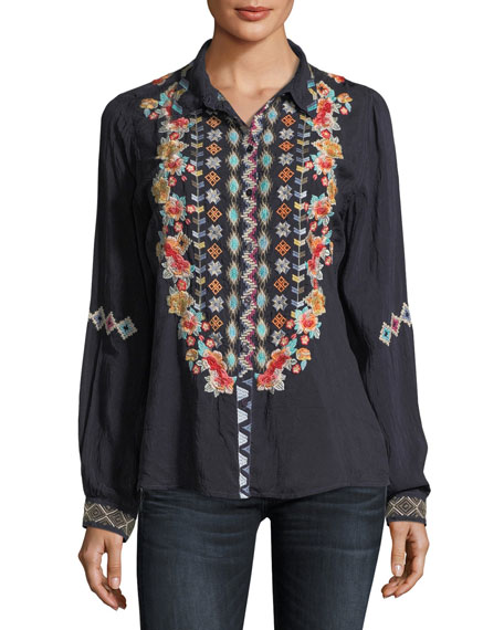 Johnny Was Clarissa Embroidered Button-Front Tunic, Plus Size