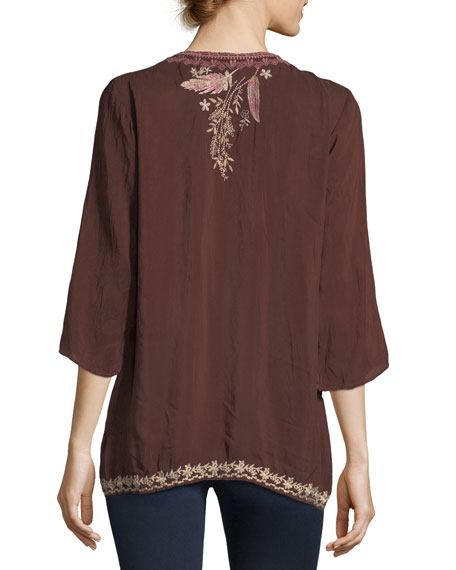 Ollie 3/4-Sleeve Embroidered Blouse, Plus Size
