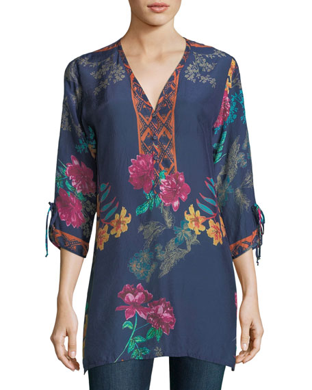Johnny Was Cavalan Floral-Print Georgette Blouse