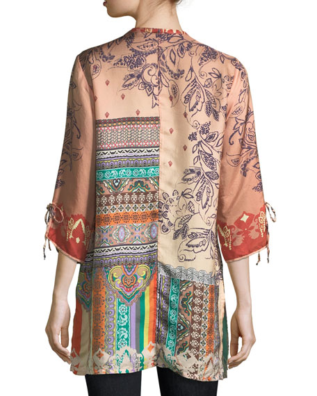Cavalan Mixed-Print Georgette Blouse, Plus Size